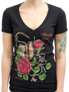 "Women's ""Lock & Key"" V-Neck Tee by Timmy B for Steadfast Brand (Black)"
