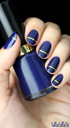 20 easy nail art ideas for short nails These blue and gold nails prove you can still slay with short nail designs. Click above to get more nail art ideas for short nails. Simple Nail Art Designs, Short Nail Designs, Cute Nail Designs, Nail Designs With Gold, Navy Blue Nail Designs, Easy Nail Polish Designs, Pretty Designs, Nail Art Stripes, Striped Nails