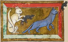 A grey cat and a white cat hunting mice  from the manuscript Royal 12 C XIX f. 36v, 13th century, English, British Library