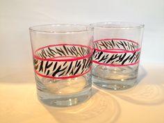 Zebra print Handpainted glasses by Brusheswithaview on Etsy, $25.00