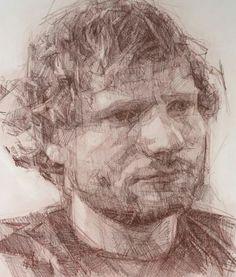 Ed Sheeran - preparatory drawing by COLIN DAVIDSON