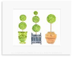 Topiary collection original watercolor print ©Lobird   Lobird.com
