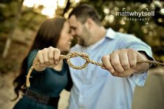 Save the Date - Tying the Knot photo idea - take a photo with your fiance pulling a string to a knot - very symbolic and cute #wedding #savethedate
