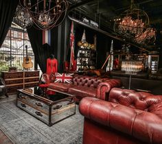 Seeing red: our Westminster Feather sofas command attention in Vagabond Red leather, painstakingly treated by hand over and over again to create the perfect, most authentic distressed look, coupled with a beautiful well-worn hand feel. Vintage Industrial, Industrial Style, Cigar Lounge Decor, Decor Interior Design, Interior Decorating, Cigar Room, Red Sofa, Chesterfield Sofa, Man Room