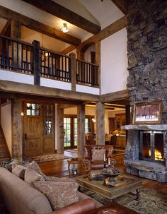 Interior, great room towards loft, Twin Pines Lodge, Iron Horse Properties, Old World Cabinet Co.Whitefish, MTs