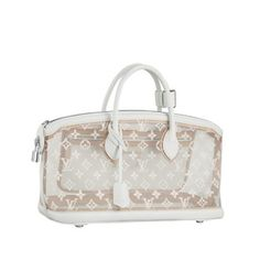 The Transparent Lockit is made of a lightweight woven fabric with the famous LV monogram and white leather frame and handles, to create a cloud-like effect. -Out with Monogram pattern -Trimmed with white leahter-Light silver hardware-Zip-top closure-Long zipper padlock -Pretective botton studs-Embroidered inside-Size: 40 x 31 x 16 (cm)