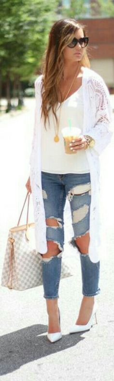 Chrocet Cardigan + Distressed Jeans / Fashion by For All Things Lovely Denim Fashion, Fashion Outfits, Jean Outfits, White Shirt And Blue Jeans, Types Of Jeans, Capsule Outfits, Daily Dress, Sexy Jeans, Comfortable Fashion
