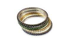 SENSA Jewellery - 18 ct gold mixed stackable ring collection using black diamond, green garnet, white diamond & sapphires Rose Gold Stackable Rings, Black White, White Gold, White Diamond Ring, Black Diamonds, Blue Sapphire Rings, Black Rhodium, Stylish Jewelry, Ring Ring