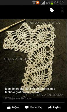 Crochet Motif Patterns, Crochet Borders, Lace Patterns, Crochet Designs, Crochet Doilies, Crochet Lace, Free Crochet, Crochet Blouse, Crochet Earrings