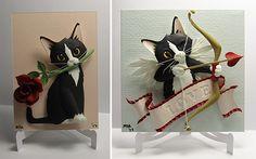 Valentine Paper Cat Sculpture by Matthew Ross...*LOVE* these custom, paper cat sculptures! >^..^