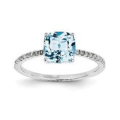 14k White Gold Diamond and Blue Topaz Square Ring Y11490BT/AA