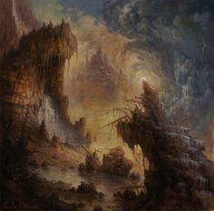 Dark Souls Art, Dark Art, Old Paintings, Landscape Paintings, Landscapes, Evil Art, Dark Pictures, Macabre Art, Painter Artist