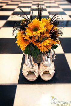 Bouquet - Sunflowers & Peacock Feathers Idea for unique wedding shoes and boquet photo