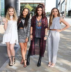 Girl power: The 21-year-old singer was her typically stylish self as she arrived at the BBC Breakfast studios alongside fellow chart-toppers Leigh-Anne Pinnock, Jesy Nelson and Jade Thirlwall