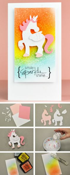 In this step-by-step Sizzix tutorial, Designer Pete shows you how you can use brand new Sizzix dies to create this DIY unicorn card- sizzix cardmaking - DIY cards - handmade cards - sizzix papercrafts