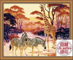 NEW Vintage Acrylic Paint by Number Kit :Zebras & Giraffes 40x50cm pre stretched