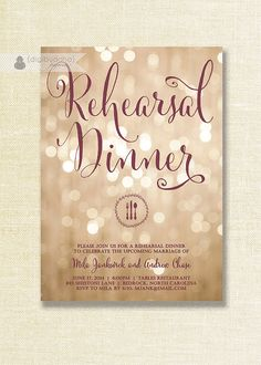 Champagne Bokeh Rehearsal Dinner Invitation in plum / wine and champagne with sparkle glitter lights bokeh by digibuddhaPaperie, $20.00