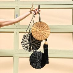 """We love the Circle Bags - the more the merrier. For some cool bag trends, click on the """"Visit"""" button above. #bag #bags #trend #trends #circlebags #strawtotes #totes #ss18 #bagtrends #bucketbags #basketbags"""