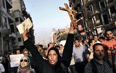 Protesto contra o massacre de cristãos no Egipto