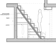 Duplex-V-coupe-escalier. Tiny House Stairs, Loft Stairs, Tiny House Cabin, Under Stairs, Tiny House Design, Coupes Architecture, Architecture Details, Loft Bed Plans, Building Stairs
