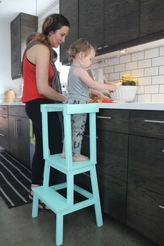 learning tower out of a Bekväm Step Stool from Ikea and some extra wood and paint. Eclectic by Stacy Levin Projects For Kids, Diy For Kids, Diy Projects, Montessori Ikea, Learning Tower, Kids Stool, Kitchen Helper, Eclectic Style, Kids Furniture