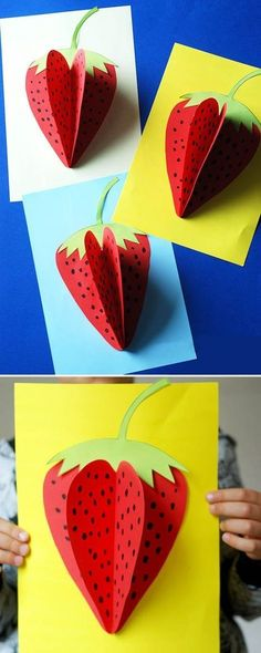 Strawberry making, activities handicraft work and simple easy activities from samples of paper and c Spring Crafts For Kids, Paper Crafts For Kids, Summer Crafts, Fall Crafts, Art For Kids, Fruit Crafts, Preschool Arts And Crafts, Preschool Activities, Craft Sites