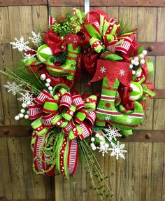 Elf Boot Christmas Mesh Wreath