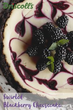 A deep purple blackberry purée spiked with blackberry liqueur dresses up this creamy and simple blackberry swirl cheesecake. Berries are th. Blackberry Cheesecake, Blackberry Recipes, Simple Cheesecake, Cheesecake Recipes, Dessert Recipes, Frozen Desserts, Just Desserts, Delicious Desserts, Cream Cheese Mints