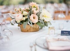 Lush, Rustic Blush and Ivory Centerpieces