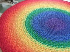 Beautiful rug made from braided recycled t shirt.