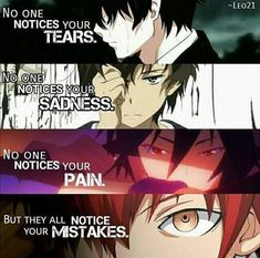 ROCKSOLID Anime Quotes You Need To Remember is part of Anime love quotes - MUSTHAVE colection of GREATEST anime quotes us a lot of life and love because they are the wisest and funniest quotes about dream, pain, and happiness Me Anime, Anime Music, Dark Anime, I Love Anime, Otaku Anime, Karma Quotes, True Quotes, Funny Quotes, Funniest Quotes