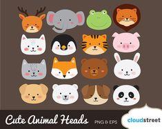 BUY 2 GET 1 FREE Cute Animal Head clipart / cute animal clipart / animal clip art / cat dog bear lio Animal Heads, Animal Faces, Cute Animal Drawings, Cute Drawings, Felt Animals, Cute Baby Animals, My Busy Books, Cute Animal Clipart, Animal Cupcakes