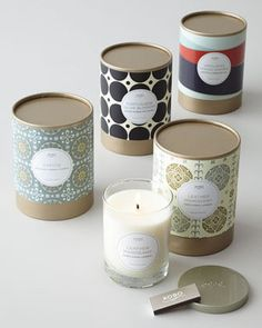 Simple packaging for soy candles using a paper tube and craft papers - loving it!