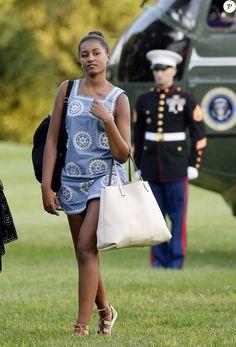 Sasha Obama (14 ans) rentre à la Maison Blanche après des vacances en famille à Martha's Vineyard. Washington, le 23 août 2015.