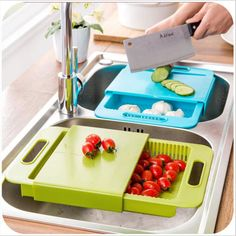 Multi - function kitchen drain basket chopping board / candy color daily necessities creative kitchen tools