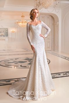 """Tatiana Kaplun """"Melaniya"""" Gorgeous Embroidered Lace Sweetheart Trumpet Wedding Dress / Bridal Gown with Off Shoulder Illusion, Long Sleeves, a Cor. Wedding Dress Trends, White Wedding Dresses, Princess Wedding Dresses, Bridal Dresses, Wedding Gowns, Lace Wedding, Wedding Dress Trumpet, Wedding Robe, Cinderella Wedding"""