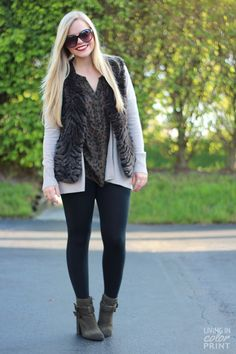 Leopard top, oversized neutral cardi, ponte leggings, booties. Sort of love the faux fur vest on top - wonder if I could sew something similar instead?