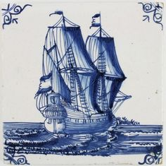 Antique Dutch Delft tile in blue with a tall ship, 17th century