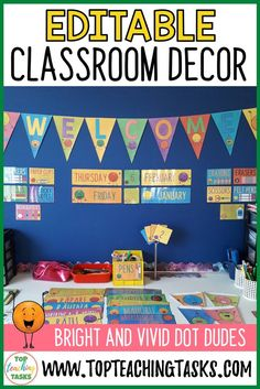 Use our Editable Classroom Display Labels and Bunting to brighten up your classroom! The loveable Dot Dudes will bring a smile to the face and our labels Classroom Bunting, Classroom Labels, Classroom Supplies, Primary Classroom, Classroom Design, Classroom Displays, Classroom Decor, Primary School Displays, Back To School Displays