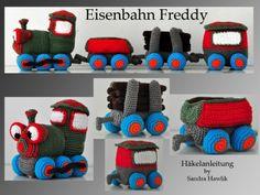 Häkelanleitung, DIY - Eisenbahn Freddy - Ebook, PDF