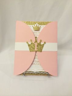 Pink and Gold Princess Invitations by CraftySistersPlus1 on Etsy