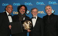 Una Foto de Alejandro G. Iñarritu, Steven Spielberg y Alfonso Cuaron ©Getty Images