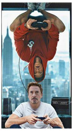 spiderman and iron man art