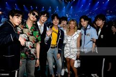 Olympic snowboarder Chloe Kim (3rd R) poses with musical group BTS at the 2018 Billboard Music Awards at MGM Grand Garden Arena on May 20, 2018 in Las Vegas, Nevada.