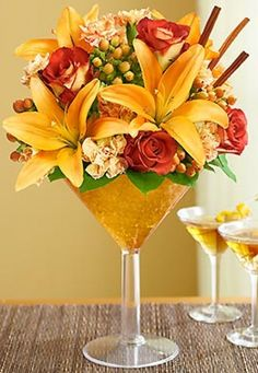 Martini Glass Bouquet | Martini Bouquet Pumpkin Spice