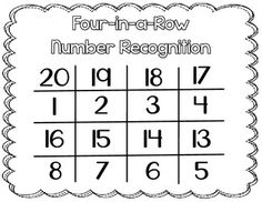 FREE Four-In-A-Row (Number Recognition to 20)