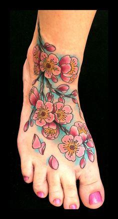 Brent Olson - cherry blossom color traditional tattoo Brent Olson Art Junkies Tattoo