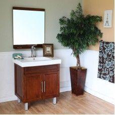 Bath> Vanities: 31.5 in Single sink vanity-wood-walnut