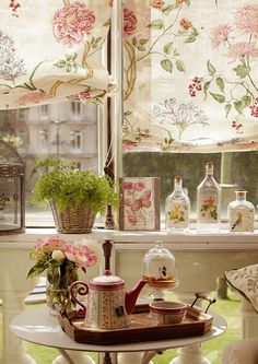 Gazebo Window Curtains Outside Patio Garden Whitewashed Romantic Pink White Green Flowers Cottage Chippy Shabby chic French country Rustic Swedish Decor Idea