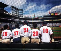 All Gameday Staff are wearing jerseys today. The numbers on the back represent the number of years that they have been with the Braves. #TurnerFieldFarewell